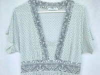 Charlotte Russ Women's  Blouse Short Sleeve Empire Waist V Neck Sz Large