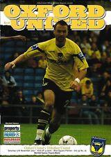 Football Programme>OXFORD UNITED v EBBSFLEET UNITED Nov 2007