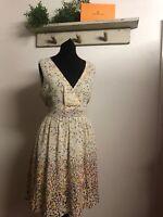 Ladies women's Pretty Summer Dress Size m/l Lined Chiffon Dress Zip Back  608