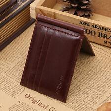 Men's Genuine Leather ID/Credit Card Case Pocket Slim Mini Wallet Holder Coffee