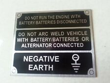 Land Rover Series 2a 3 Front Panel Negative Earth Information Plate 396116 Black