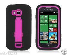 Samsung ATIV Odyssey i930 Hybrid S Armor Case Skin Cover w/ Stand Black Hot Pink