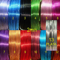 1 Rollo Alambre 5 Metros Aluminio 2mm Color a Escoger Aluminium Wire σύρμα Fil