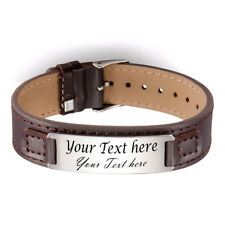 Personalize Engraved Brown Leather Bracelet narrow band Custom text laser gift