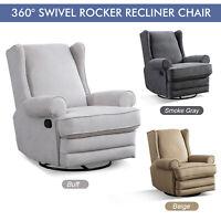 360° Swivel Rocker Recliner Chair Manual Reclining Chair Single Living Room Sofa