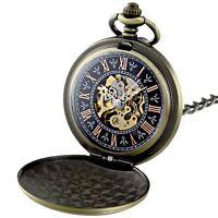 Antique Wind up Mechanical Pocket Watch Skeleton Copper Vintage Shield Chain New