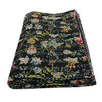 Black Floral Kantha Queen Throw Blanket Indian Quilts Bedding Bedcover Comforter