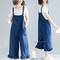 Womens Loose Denim Overalls Bib Pant Jeans Jumpsuits Rompers Suspenders Trousers
