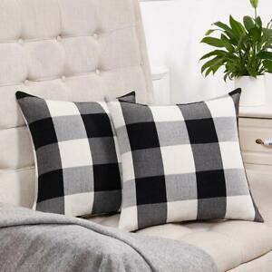 Buffalo Check Plaid Throw Pillow Case Cushion Cover Farmhouse Holiday Home Decor