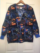 Smart Scrubs Halloween Pumpkin Warm Up Scrub Top with Pockets and Buttons Size S