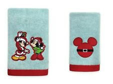 NWT DISNEY Set of 2 Embroidered MICKEY MOUSE Hand and Fingertip Christmas Towels