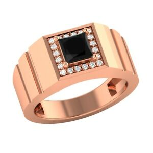 18k Rose Gold Over 1.20 CT Princess Black Spinel and Sapphire Mens Wedding Band