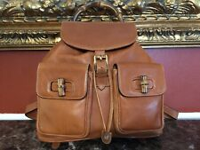GUCCI BAMBOO COLLECTION TAN LEATHER DRAWSTRING BUCKET BACKPACK TOTE BAG ITALY