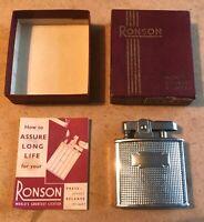 Vintage UK Ronson Cadet C201 Petrol Cigarette Lighter. VGC + Box & Instructions