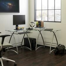 L Shaped Desk Office Computer Glass Corner Desk With Keyboard Tray Home Office