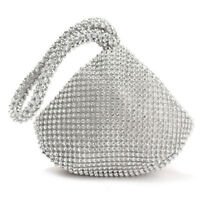 Silver Women's Crystal Rhinestones Evening Clutch Bag Party Prom Wedding Purse