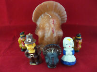 Lot Of 6 Vintage Thanksgiving Turkey Pilgrims Candles