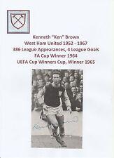 KEN Marrone West Ham United 1952-1967 mano originale firmato RIVISTA taglio