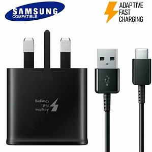 Genuine CE Fast Wall 3 Pin Plug And Type C Cable Charger For Samsung S8, S9, S10