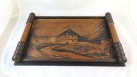 Altes Tablett IN Holz Malerei -asche Mit Landschaft Berg Jahre 50 BM37