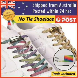 Glitter No Tie Magnetic Elastic Shoelace Sneakers Sports Kids Adults Shoe laces