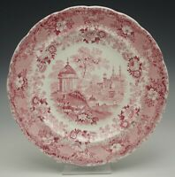 "STAFFORDSHIRE JACKSON ASIATIC SCENERY 9"" PLATE RED TRANSFERWARE 1831-35 ANTIQUE"