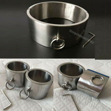 Heavy Weight 6CM High Stainless Steel Collar + Wrist + Ankle Cuffs Slave Shankle