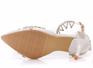 White Heels Womens Wedding Party Shoes Bride Floral Crystal Tassels Strap Pumps
