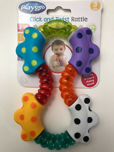 BNWT Plagro Click And Twist Teething Teether Rattle Baby 3+ Months