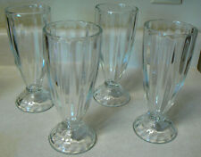 Old Fashioned Milkshake Ice Cream Soda Sundae Glass, 12oz. Set of 4 Ribbed Vtg