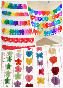 3D Hanging Paper Garland Chain Home Wedding Birthday Party Ceiling Banner DIY