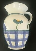 "Caleca ARIOSO Pitcher Italy Hand Painted 64 oz 9 1/2"" H Ceramic Pottery Blue"