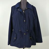 Charter Club Water Resistant Hooded Anorak Jacket Navy Rain Coat Womens Size L