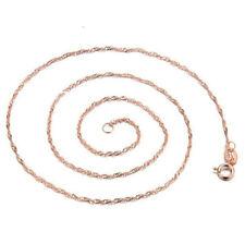 Ladies 18K Rose Gold Pink Rose Quartz Lucky Stone Pendant Necklace Wave Chain