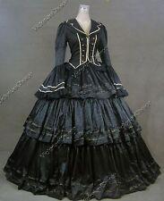 Victorian Civil War Black Brocade Dress Gown Theater Reenactment Punk N 188 S