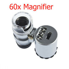 NEW Mini 60x Handheld Microscope Loupe Jeweler Magnifier With LED Light Glass K