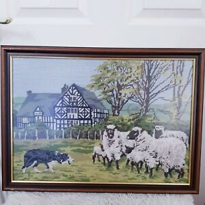Vintage Tapestry Cottage Countryside Farm Theme Sheep Herd Sheepdog Frame Pictur