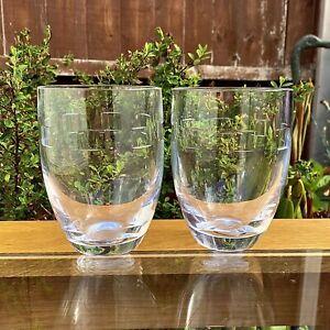 John Rocha @ Waterford Crystal Geo Cut Rare Pair Of 11.5cm Tumbler Glasses