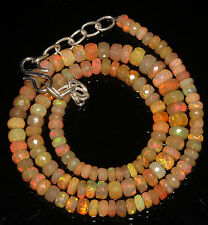 """64 Crts 4 to 6.5 mm 16"""" Faceted Beads necklace Ethiopian Welo Fire Opal 94587"""