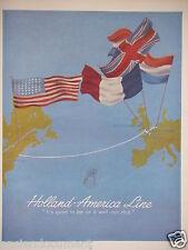PUBLICITÉ 1952 HOLLAND AMERICA LINE - PAQUEBOT - ADVERTISING