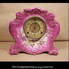 Antique W Gilbert Porcelain China Clock No 411 Lions Heads Floral Case