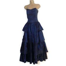 Vintage LAURA ASHLEY Ball Gown Dress 14 Taffeta Blue Striped Victorian Wedding-