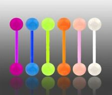 Lot 6 x Flexi Glow In The Dark Tongue Bars Piercing Flexible Bar Tounge (E5)