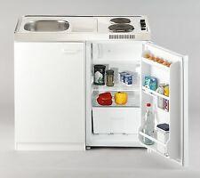 respekta Miniküche Pantry Single Küche Küchenblock 100 cm weiss Kühlschrank