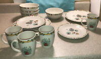 #D01A ~ Service for 4 Thomson Pottery BIRDHOUSE Pattern Plates Bowls Cups 16 Pc