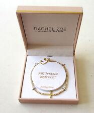 NEW Rachel Zoe Pave Crystal Cross Gold/Sterling Silver Slide Adjustable Bracelet