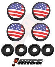 4 Black Custom License Plate Frame Tag Screw Cap Covers - USA FLAG RWB 8A3