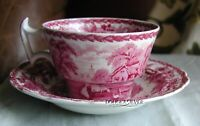 "BOOTHS RED BRITISH SCENERY CHINA  2 5/8"" CUP & SAUCER (S)"