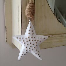 Heaven Sends Christmas Shabby Chic Hanging Star Decoration White Gold Dots Jute