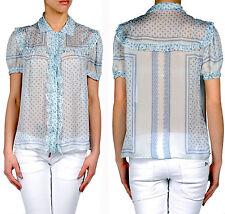 Roberto Cavalli Cap Sleeves Floral Pattern Silk Blouse